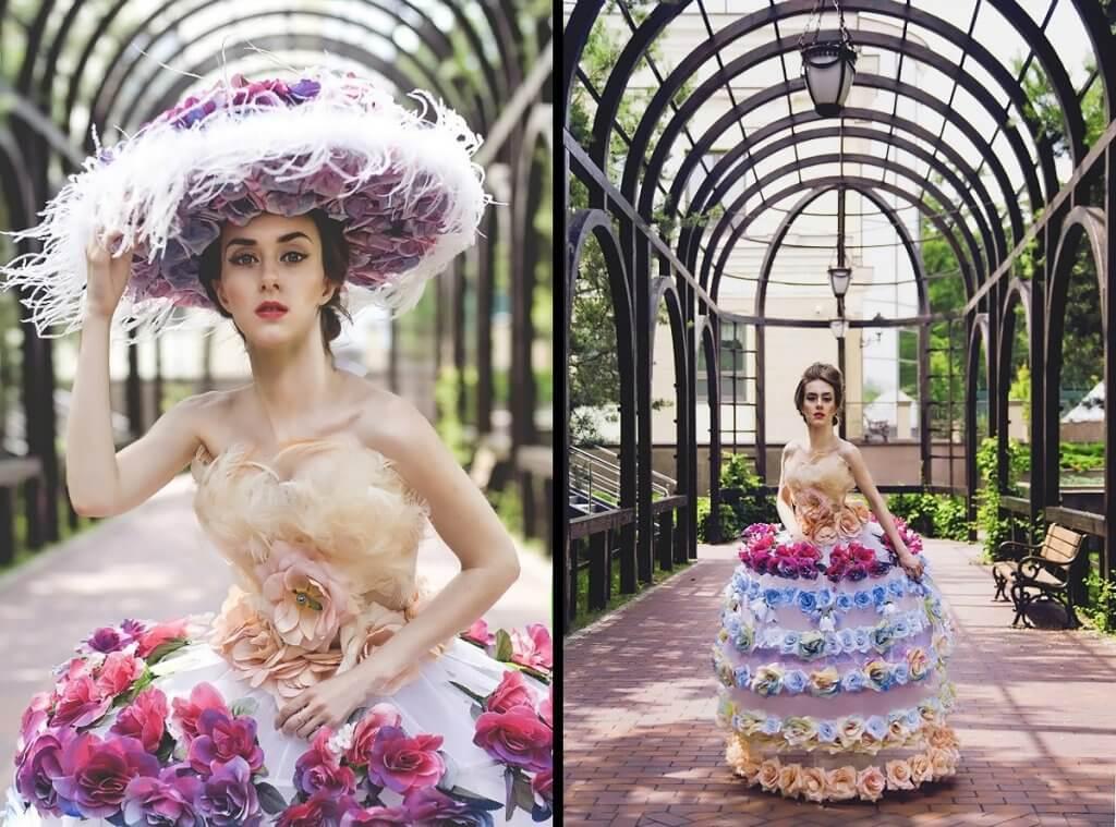 Дівчина у сукні з квітами. Ольга Кушнір